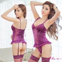 【Anna Mu】馬甲 魅惑深紫色柔緞蕾絲馬甲吊襪帶四件組(NA10030027-3)