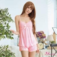 【Anna Mu】性感睡衣 甜美粉紅柔緞居家睡衣短褲二件組(NA07050034-3)
