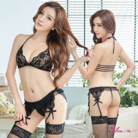 【Anna Mu】黑色誘惑比基尼式吊襪帶四件組(NA09030166)