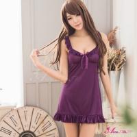 【Anna Mu】浪漫深紫色柔緞V領荷葉滾邊睡衣(NA11020155)