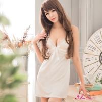 【Anna Mu】甜美純白柔緞深V細肩帶睡衣(NA09020026-1)