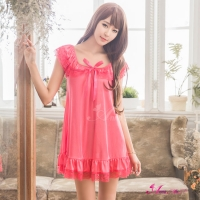 【Anna Mu】俏麗蜜桃紅小蓋袖柔緞性感睡衣(NA16020126)