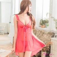 【Anna Mu】桃紅透視柔紗深V二件式性感睡衣(NA16020115)