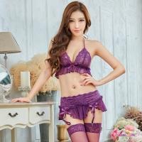 【Anna Mu】吊襪帶 魅惑紫色蕾絲情趣比基尼吊襪帶四件組(NA13030001-5)
