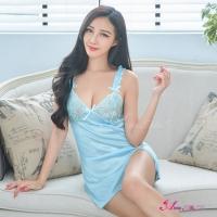 【Anna Mu】水藍夢幻波浪造形肩帶柔緞性感睡衣(NA10020068)