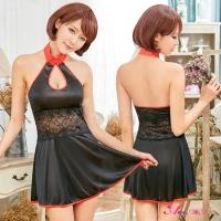 【Anna Mu】黑色柔緞削肩式旗袍角色扮演服二件組(NA11030182)