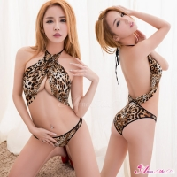 【Anna Mu】狂野豹紋綁脖美背情趣連身衣(NA16030020)