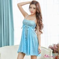 【Anna Mu】性感睡衣 優雅水藍緹花蕾絲二件式睡衣(NA13020072-2)