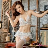 【Anna Mu】吊襪帶 純白緹花蕾絲情趣比基尼吊襪帶四件組(NA13030001-1)