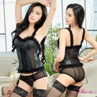【Anna Mu】馬甲 魅惑黑仿皮蕾絲馬甲吊襪帶五件組(NA17030063)