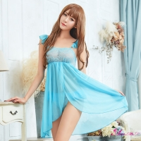 【Anna Mu】性感睡衣 水藍柔紗雙層開襟二件式性感睡衣(NA16020071)