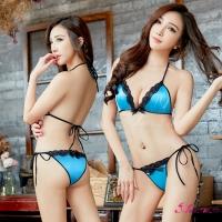 【Anna Mu】情趣內衣 時尚藍黑撞色綁脖式情趣比基尼二件組(NA12030180)