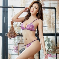 【Anna Mu】情趣內衣 紫白雙色刺繡前扣式情趣比基尼二件組(NA15030031)
