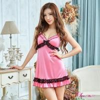 【Anna Mu】性感睡衣 甜美粉紅柔緞蕾絲性感睡衣(NA12020021-1)