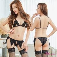 【Anna Mu】吊襪帶 魅惑黑色蕾絲情趣比基尼吊襪帶五件組(NA09030009-1)