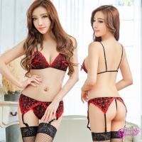 【Anna Mu】吊襪帶 黑紅撞色網紗刺繡比基尼四件組(NA15030043)