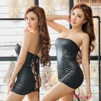 【Anna Mu】角色扮演 黑色仿皮平口洋裝辣妹角色扮演服二件組(NA15030100)