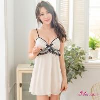 【Anna Mu】性感睡衣 純白柔緞蕾絲滾邊性感睡衣(NA12020032)