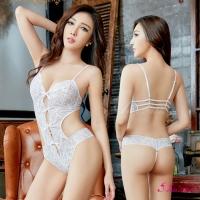 【Anna Mu】情趣睡衣 浪漫白色蕾絲鏤空情趣連身衣(NA13030137)