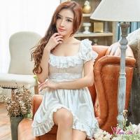 【Anna Mu】性感睡衣 優雅甜美白色柔緞公主袖性感睡衣(NA13020069)