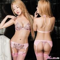 【Anna Mu】吊襪帶 粉色柔紗綁脖式情趣比基尼吊襪帶四件組(NA17030005)
