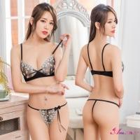 【Anna Mu】情趣內衣 魅黑網紗刺繡情趣比基尼二件組(NA15030016)