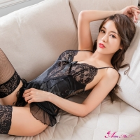 【Anna Mu】馬甲 黑色緹花柔緞馬甲吊襪帶四件組(NA13030013)