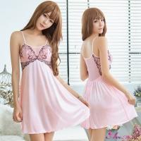 【Anna Mu】性感睡衣 優雅粉紅柔緞刺繡性感睡衣(NA19020023)