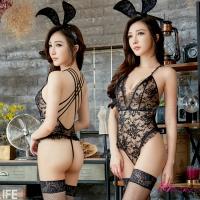 【Anna Mu】誘惑黑緹花蕾絲兔女郎連身衣三件式角色服(NA19030051)