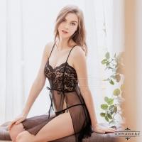 【ANNABERY】大尺碼 黑蕾絲透視薄紗二件式開襟丁字褲性感睡裙(NY14020030)