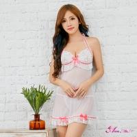 【Anna Mu】性感睡衣 純白薄紗蕾絲綁脖美背二件式丁字褲睡裙(NA13020107)