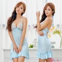 【Anna Mu】性感睡衣 甜美藍深V綁脖美背荷葉裙襬睡裙(NA16020093)