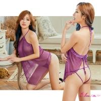 【Anna Mu】情趣睡衣 誘惑紫薄紗透視綁脖後開襟二件式丁字褲睡裙(NA11030125-3)