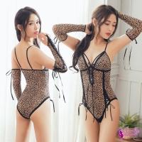 【Anna Mu】情趣睡衣 狂野豹紋透視薄紗深V蕾絲二件式性感連身衣(NA14030040)