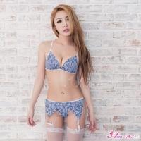 【Anna Mu】吊襪帶 水藍色雙色刺繡情趣比基尼吊襪帶五件組(NA15030008)
