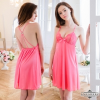 【ANNABERY】大尺碼 深粉性感美背柔緞睡衣(NY16020063)