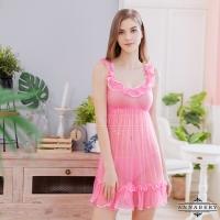 【ANNABERY】大尺碼 甜美粉紅透視薄紗荷葉肩帶二件式丁字褲性感睡衣(NY14020052)