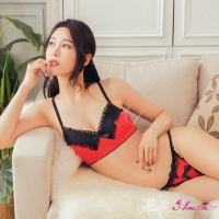 【Anna Mu】惹火黑紅蕾絲緞面二件式性感比基尼丁字褲睡衣(NA12030227-1)