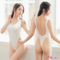 【Anna Mu】情趣睡衣 純白U型美背高衩死庫水情趣連身衣(NA16030052)