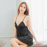 【Anna Mu】性感睡衣 深V魅惑蕾絲緞面細肩睡衣(NA12020012)