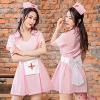 【Anna Mu】角色扮演 粉紅純真俏護士連身裙三件式角色服(NA15030093)