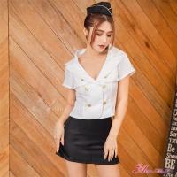 【Anna Mu】角色扮演 空姐誘惑 V領短版襯衫迷你窄裙三件式角色服(NA19030097)