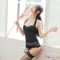 【Anna Mu】性感馬甲 魅黑緞面蕾絲綁脖美背四件式長馬甲吊襪帶睡衣(NA09030176)