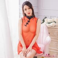【Anna Mu】角色扮演 火紅透視薄紗二件式丁字褲改良式旗袍角色服(NA10030101)