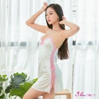 【Anna Mu】性感睡衣 日系粉白蕾絲緞面側開衩睡衣(NA13020005)