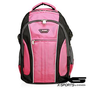 後背包 可放13吋筆電 垂直線條拼色後背包包 X-SPORTS 粉紅(CG20508-3P)