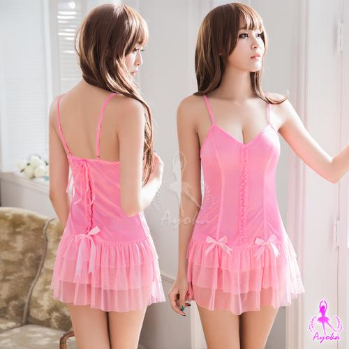 【AYOKA】性感睡衣 層疊裙襬柔緞美背二件式睡衣(NA09020249-2)