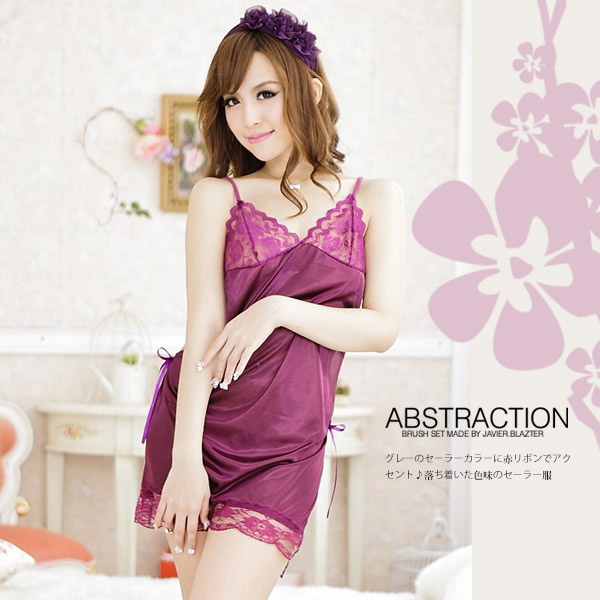 【JWEI】寵愛甜心.柔緞性感睡衣(紫)(CF-19151067)