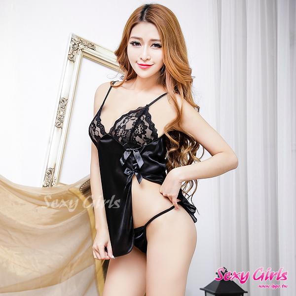 【Sexy Girls】情趣睡衣 蕾絲側開美腿誘惑二件式睡衣(CM-16007089)