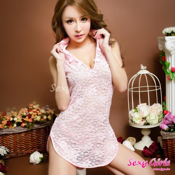 【Sexy Girls】情趣睡衣 性感蕾絲透視二件式睡衣(CF-16007189-P)